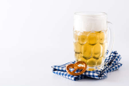 Oktoberfest beer in jar and pretzel isolated on white background. Copyspace Imagens