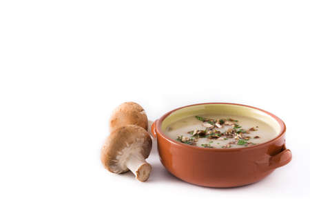 Homemade mushroom soup isolated on white background. Copyspace