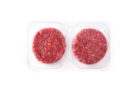burger meat packaged in plastic isolated on white background