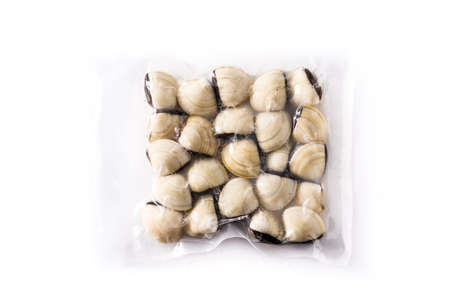 Clams packaged in plastic isolated on white background