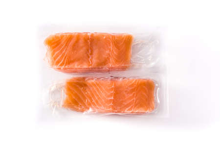 Salmon packaged in plastic isolated on white background
