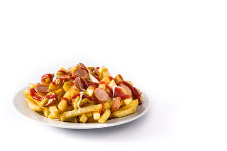 Typical Latin America Salchipapa. Sausages with fries, ketchup, mustard and mayo, isolated on white background