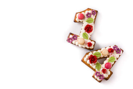 Valentine's Day cake with 14 number with flowers decorated isolated on white background. Copy space