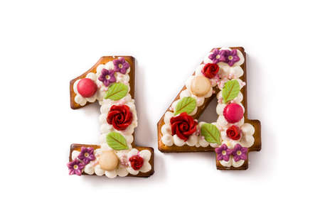 Valentine's Day cake with 14 number with flowers decorated isolated on white background.