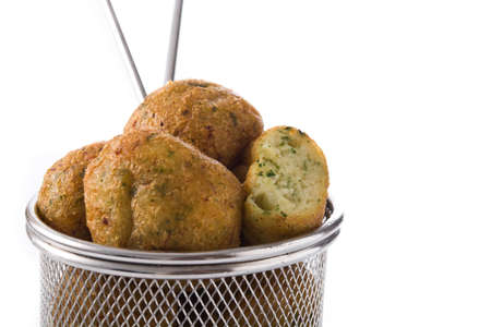 Cod fritters isolated on white background