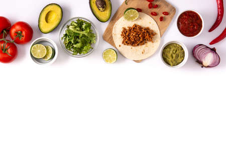 Mexican tacos ingredients isolated on white background