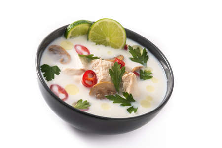 Traditional Thai food Tom Kha Gai and ingredients isolated on white background Archivio Fotografico
