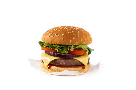 Cheeseburger with beef, tomato, lettuce and onion isolated on white background Standard-Bild