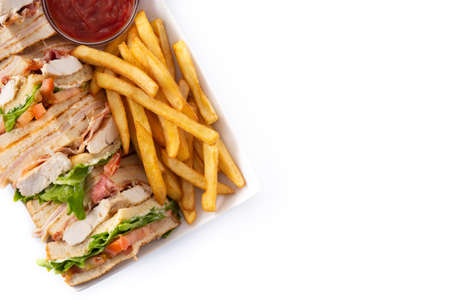 Club sandwich and French fries with ketchup sauce isolated on white background