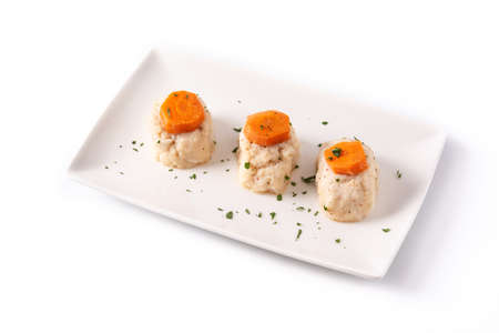 Traditional Jewish gefilte fish isolated on white background