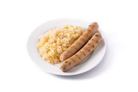 Bratwurst sausage and sauerkraut isolated on white background