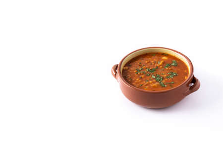 Red lentil soup isolated on white background 版權商用圖片