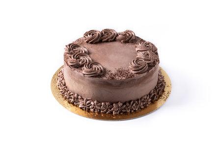 Piece of chocolate truffle cake isolated on white background