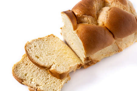 Braided egg bread isolated on white background