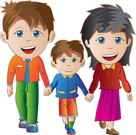 ni�os divirtiendose: familia feliz Vectores