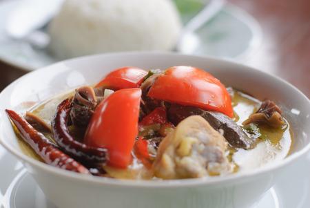 Thai Cuisine- Tom Kha Kai -chicken In Coconut Milk Soup and rice photo