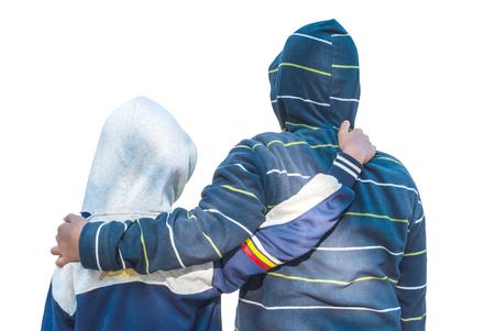 buddies: Two buddies hugging and just having fun Stock Photo