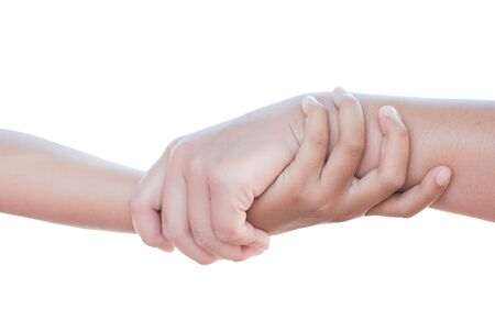 holding mother's hand: Hand touches hand isolated on white background