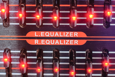 close up of frequency fader on a amplifier head Stock Photo