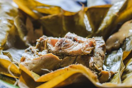 pla: steamed fish curry custard in banana leaf