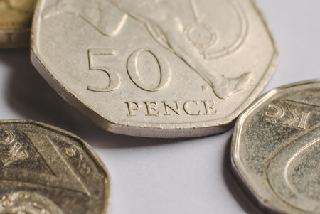 pence: Fifty Pence coin isolated over a white background