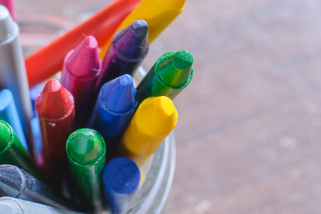 children painting: crayons for painting for children in kindergarten Stock Photo