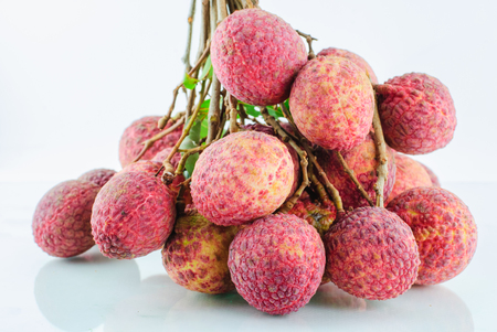 lichi: Red Litchi fruit isolated on white background