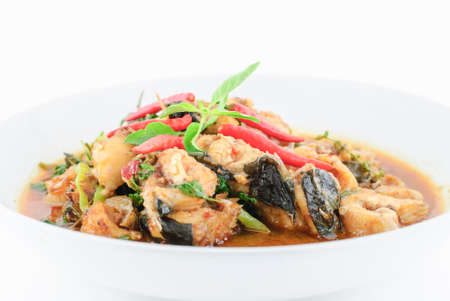bagre: Thai food name Spicy Fried Stir Catfish Foto de archivo