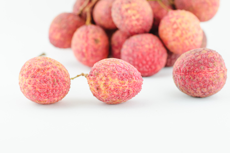 litchi: Red Litchi fruit isolated on white background