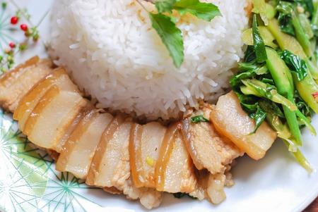 kana: fried kale mixed crispy pork kana moo krob Stock Photo