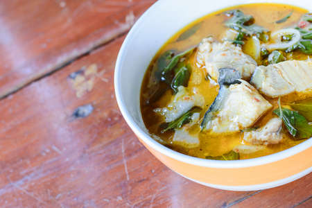 thai food: The Red curry with fish Thai food