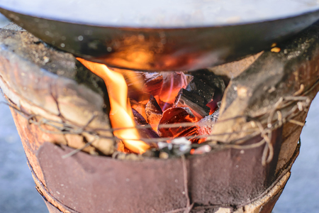charcoal: charcoal stove and was burning charcoal fire