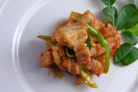 spicy pork with red curry in thai food Stock Photo