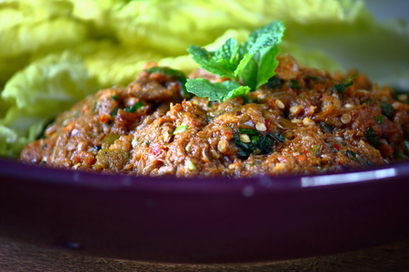 Spicy minced catfish with herb delicious on Thai food 写真素材