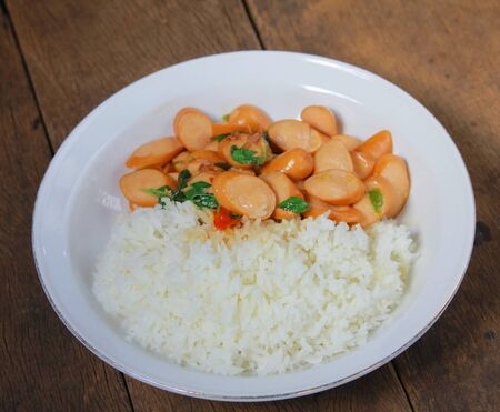 Thai Stir Fry Sausage with Basil Recipe in Thaifood Imagens