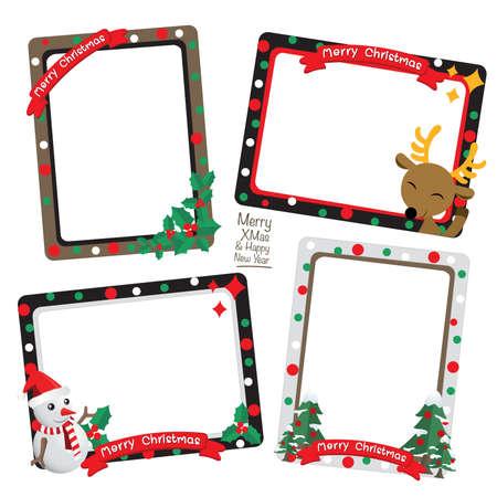 Conjunto de Marco de la Navidad, Navidad frontera vector, diseño marco de foto