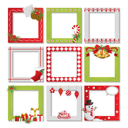 picture card: Set of Christmas frame,vector border christmas, picture frame design