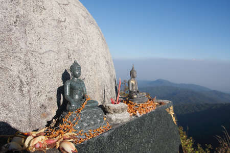 Buddha statue Located on the hill. Stock Photo