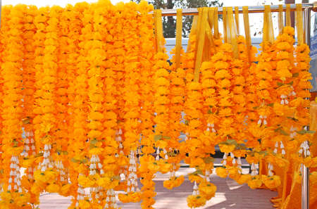 Marigold garlands stacked into large pieces Stock Photo