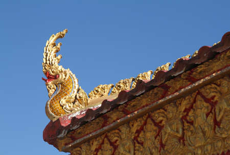 heads of Naka or Naga or serpent in buddhist temple in Thailand Stock Photo