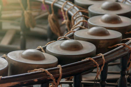 Gong,Thai musical instrumentmade from metal and wood Stock Photo
