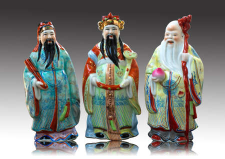 Porcelain statues of Fu Lu Shou  photo