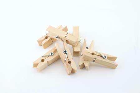 tweak: wooden clothespin on a white background Stock Photo