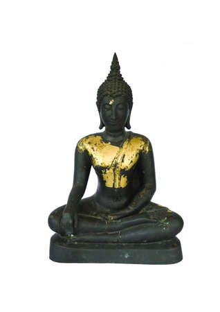 ancient buddha statue on white background photo
