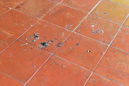droppings: Bird droppings, dirty On the ground floor balcony. Stock Photo