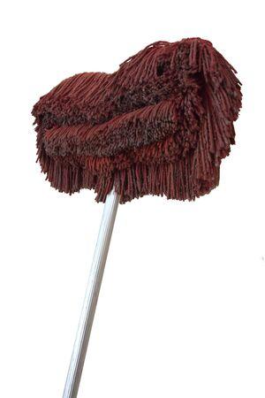 Mop est sale de germes et de bactéries, isolé sur fond blanc avec un tracé de détourage. Banque d'images
