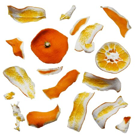 Abstract composition of orange peel pieces on square rectangular forms, clipping path included to remove the background with ease. Stock Photo