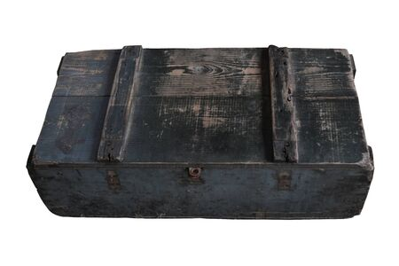 Old square wooden crate, with lid closed and isolated on white background with clipping path