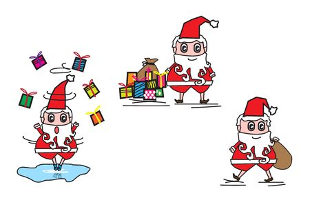 Collection of Christmas Santa Claus play ice skate.