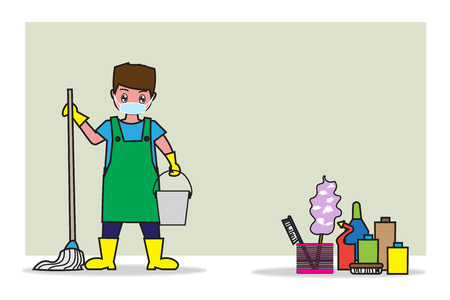 Illustration of man holding the mop and pail of water, cleaning business concept illustration.